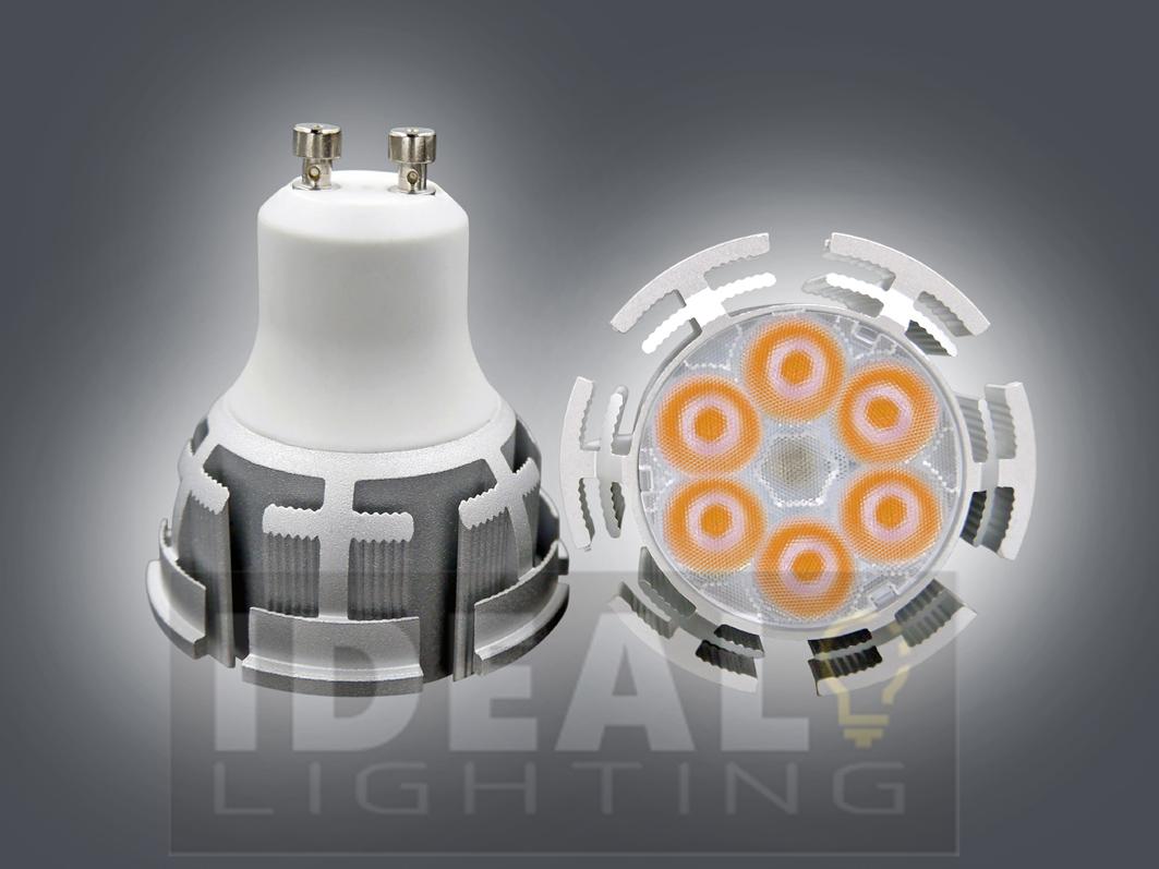 LED GU10 6X1W Spotlight 100-240VAC Silver